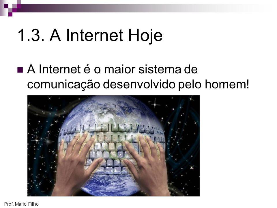 1.3. A Internet Hoje A Internet é o maior sistema de comunicação desenvolvido pelo homem.