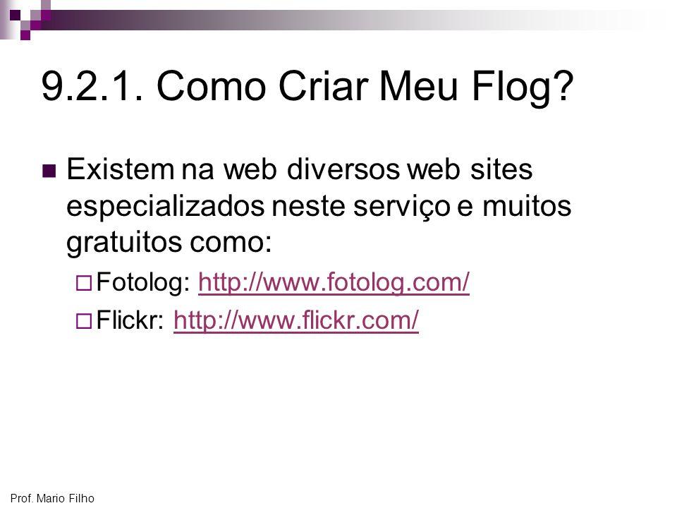 9.2.1. Como Criar Meu Flog Existem na web diversos web sites especializados neste serviço e muitos gratuitos como: