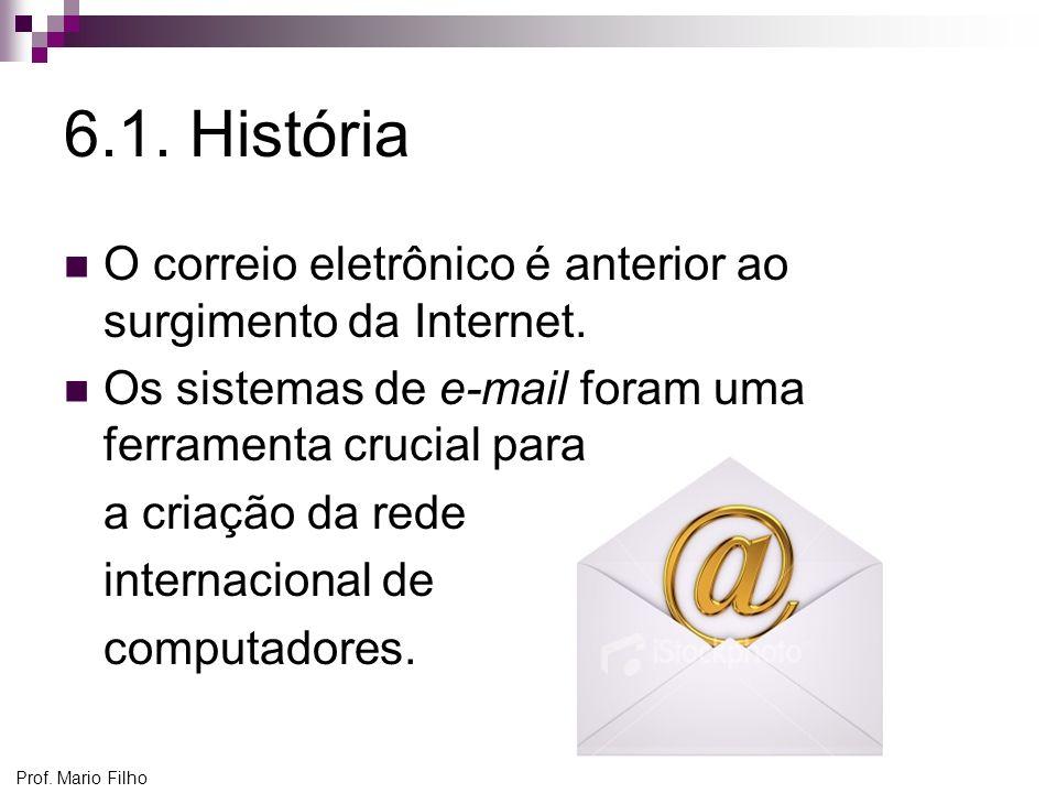 6.1. História O correio eletrônico é anterior ao surgimento da Internet. Os sistemas de e-mail foram uma ferramenta crucial para.