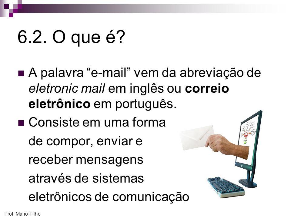 6.2. O que é A palavra e-mail vem da abreviação de eletronic mail em inglês ou correio eletrônico em português.