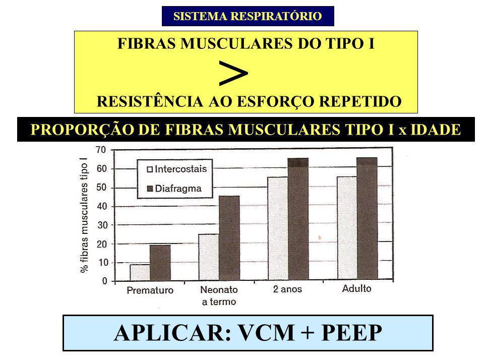 > APLICAR: VCM + PEEP FIBRAS MUSCULARES DO TIPO I