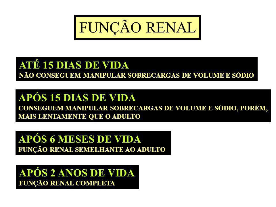 FUNÇÃO RENAL ATÉ 15 DIAS DE VIDA APÓS 15 DIAS DE VIDA