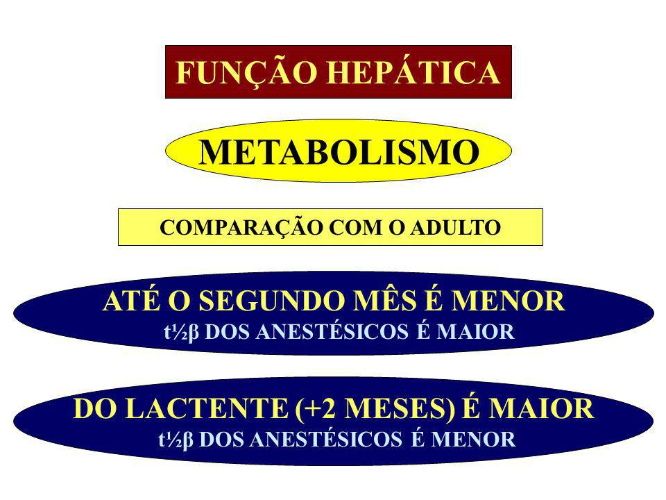 METABOLISMO FUNÇÃO HEPÁTICA ATÉ O SEGUNDO MÊS É MENOR