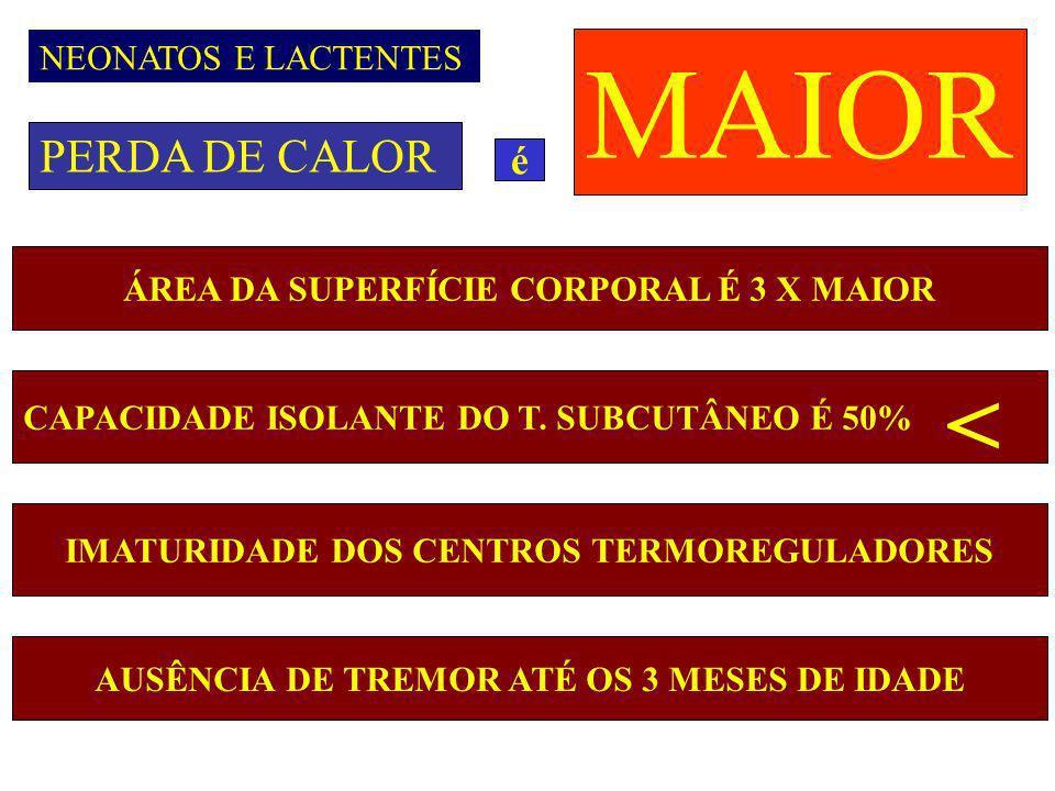MAIOR < PERDA DE CALOR é NEONATOS E LACTENTES
