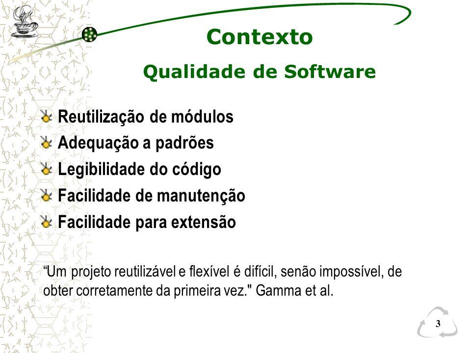 Contexto Qualidade de Software Reutilização de módulos