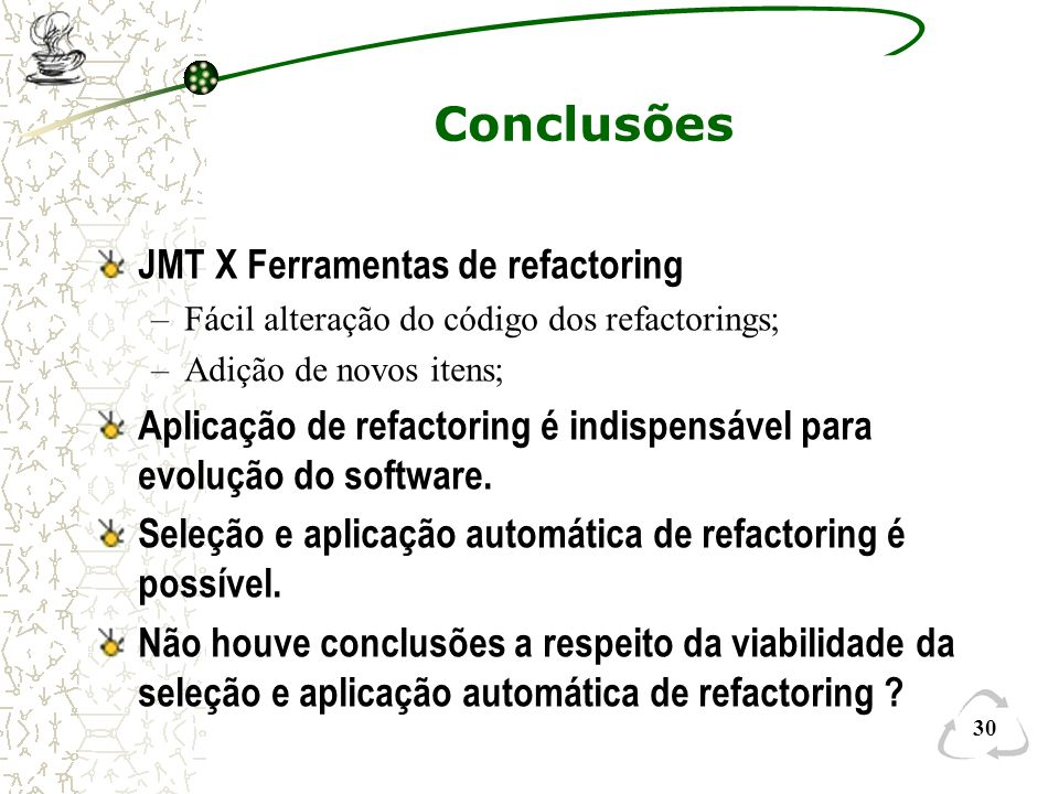 Conclusões JMT X Ferramentas de refactoring