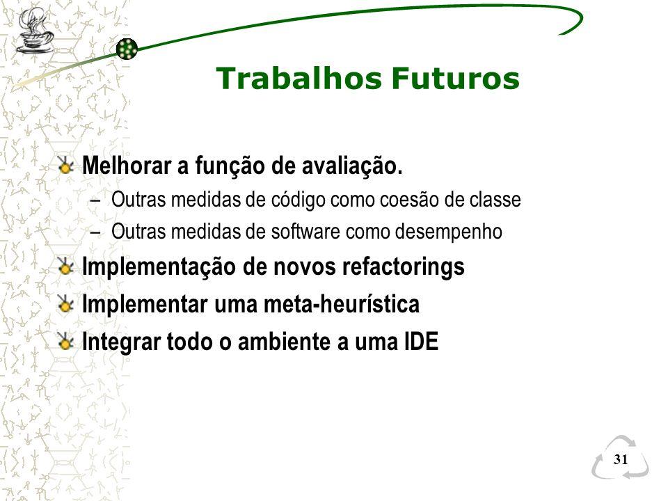 Trabalhos Futuros Melhorar a função de avaliação.