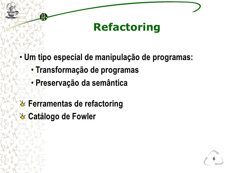 Refactoring Um tipo especial de manipulação de programas: