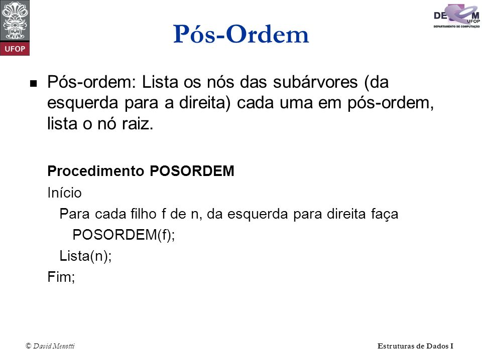 Pós-Ordem Pós-ordem: Lista os nós das subárvores (da esquerda para a direita) cada uma em pós-ordem, lista o nó raiz.