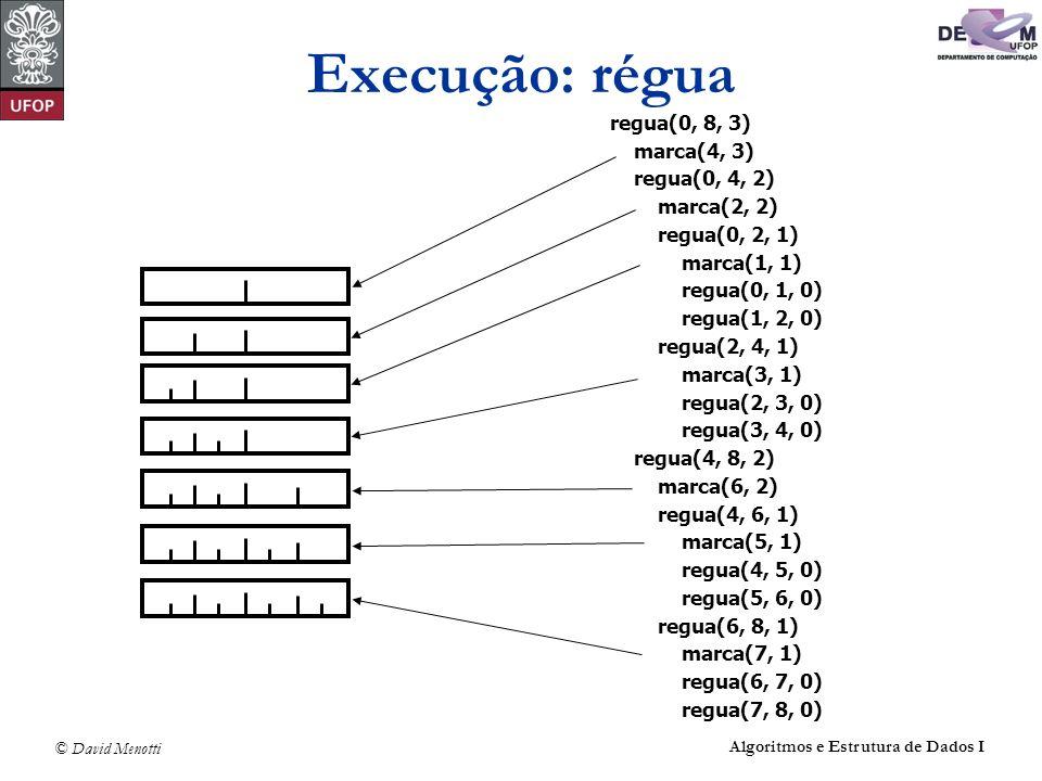 Execução: régua regua(0, 8, 3) marca(4, 3) regua(0, 4, 2) marca(2, 2)