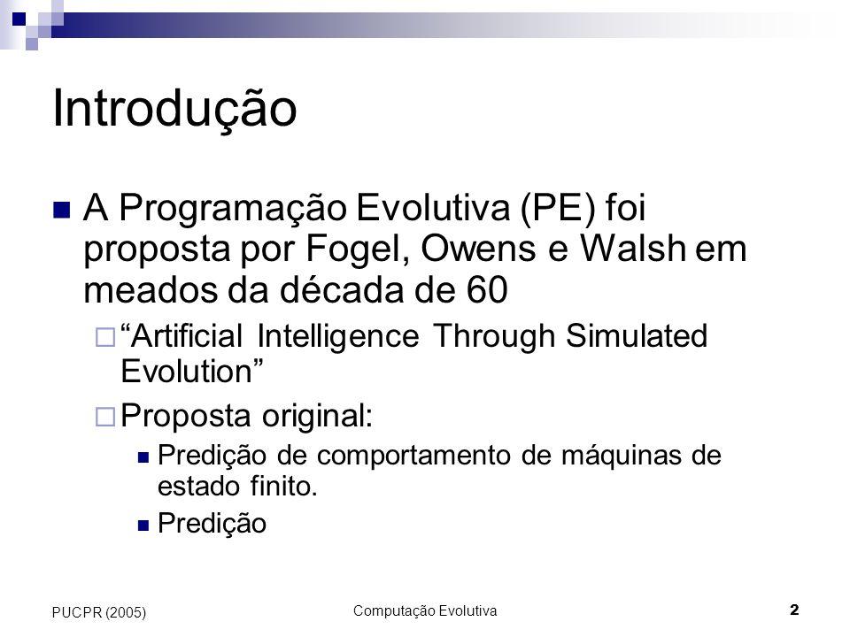 Introdução A Programação Evolutiva (PE) foi proposta por Fogel, Owens e Walsh em meados da década de 60.
