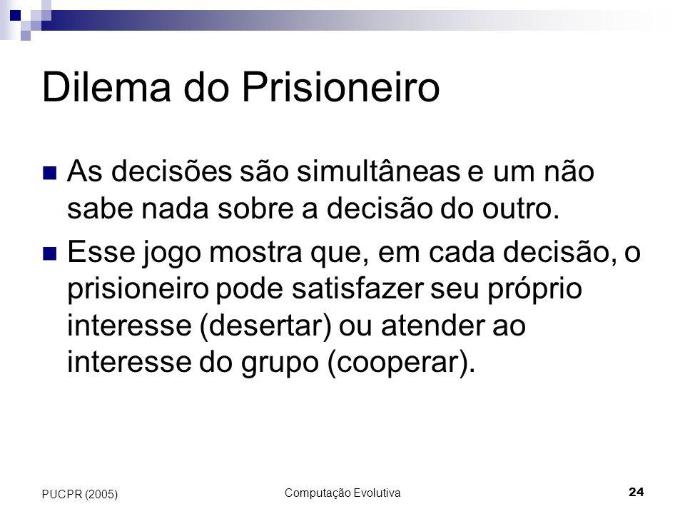 Dilema do Prisioneiro As decisões são simultâneas e um não sabe nada sobre a decisão do outro.