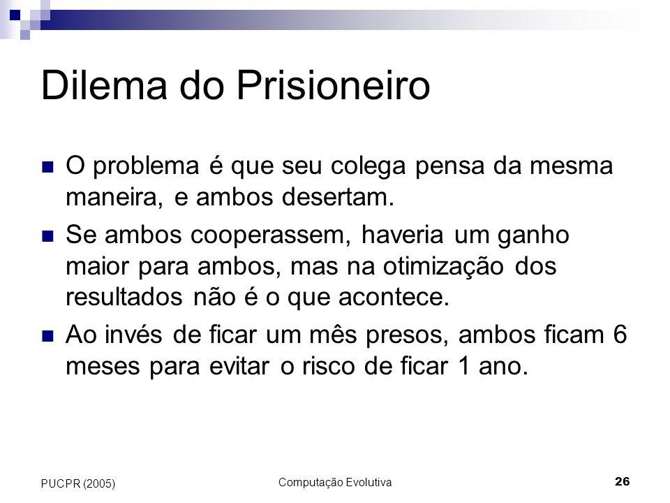 Dilema do Prisioneiro O problema é que seu colega pensa da mesma maneira, e ambos desertam.