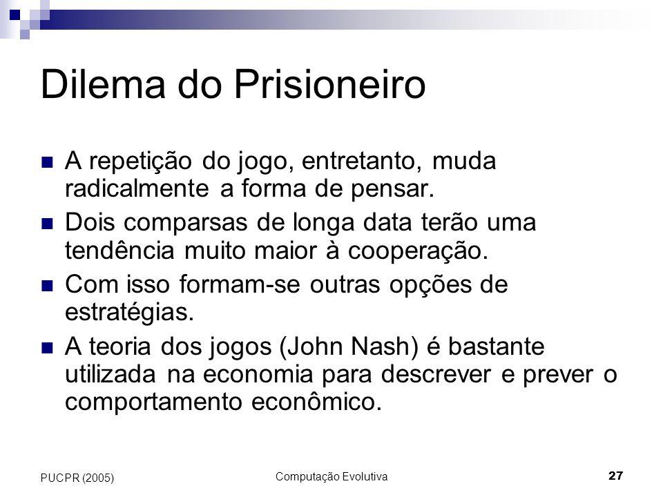 Dilema do Prisioneiro A repetição do jogo, entretanto, muda radicalmente a forma de pensar.