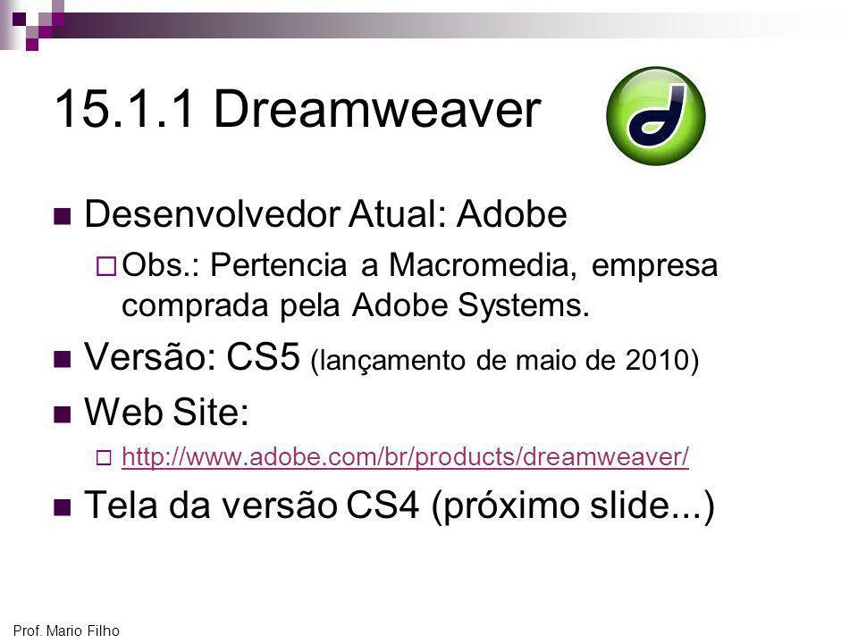 15.1.1 Dreamweaver Desenvolvedor Atual: Adobe
