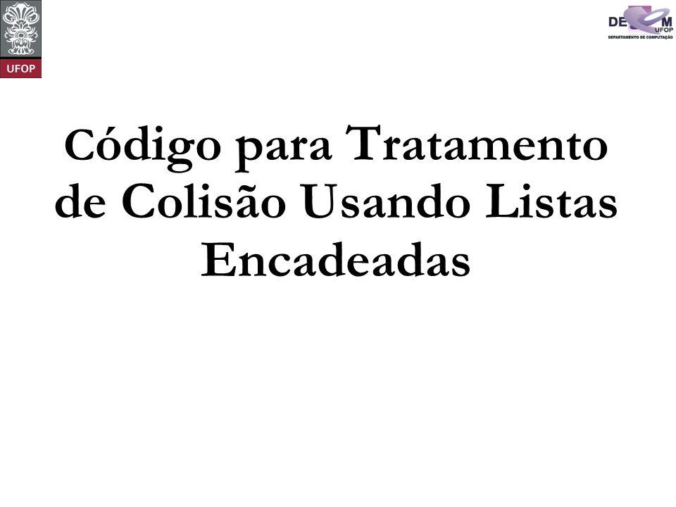 Código para Tratamento de Colisão Usando Listas Encadeadas