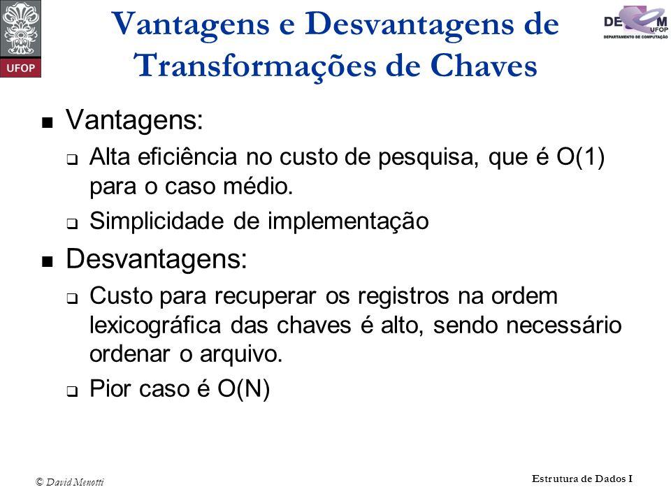 Vantagens e Desvantagens de Transformações de Chaves