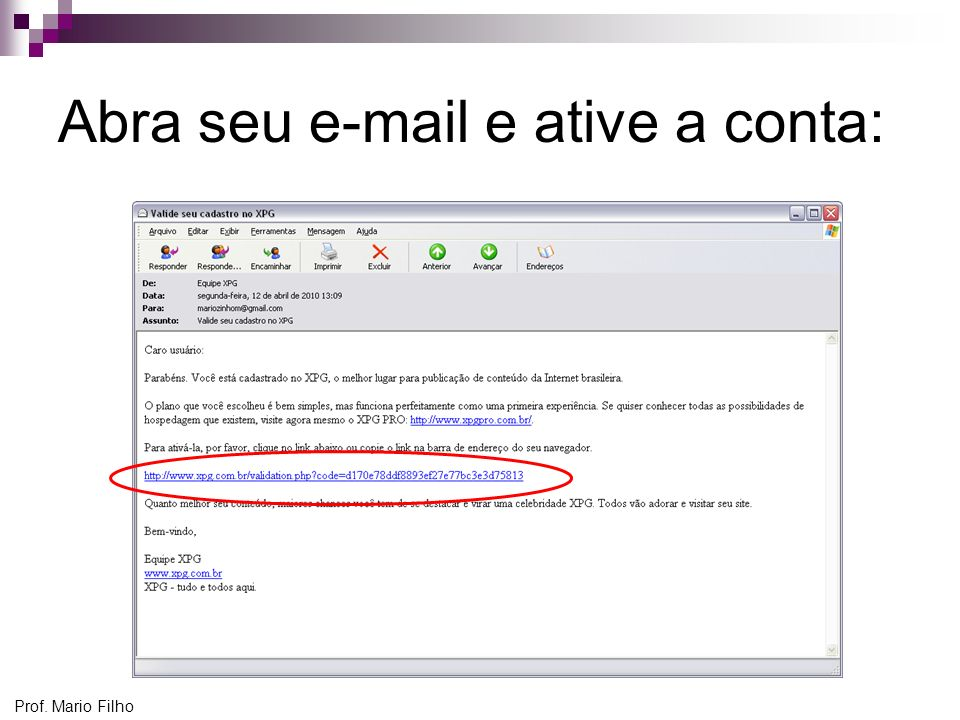 Abra seu e-mail e ative a conta: