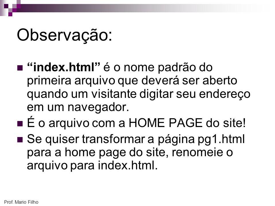 Observação: index.html é o nome padrão do primeira arquivo que deverá ser aberto quando um visitante digitar seu endereço em um navegador.