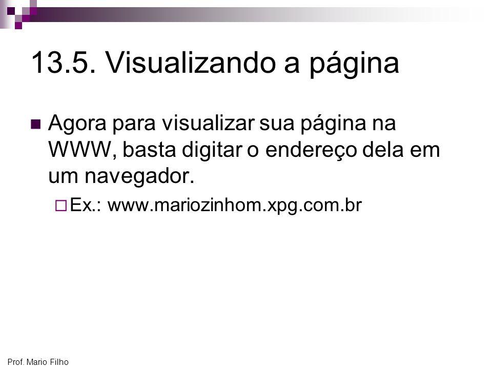 13.5. Visualizando a página Agora para visualizar sua página na WWW, basta digitar o endereço dela em um navegador.
