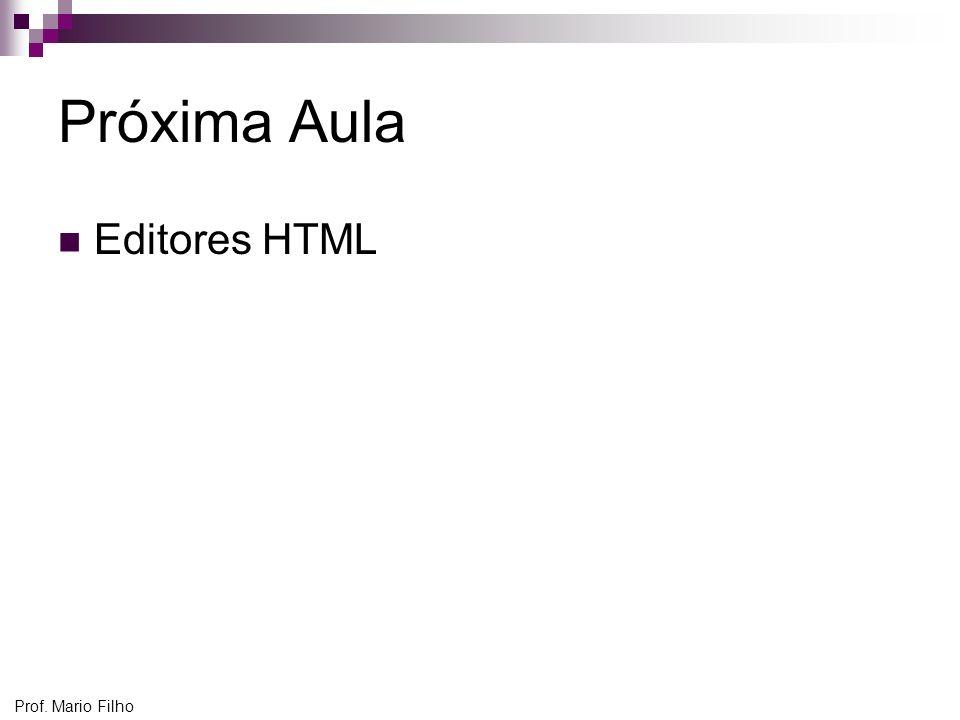 Próxima Aula Editores HTML Prof. Mario Filho