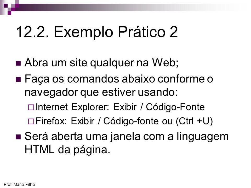 12.2. Exemplo Prático 2 Abra um site qualquer na Web;
