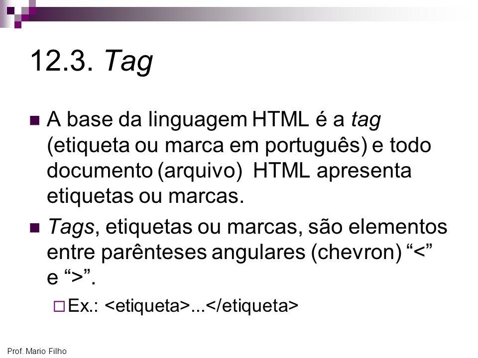 12.3. Tag A base da linguagem HTML é a tag (etiqueta ou marca em português) e todo documento (arquivo) HTML apresenta etiquetas ou marcas.