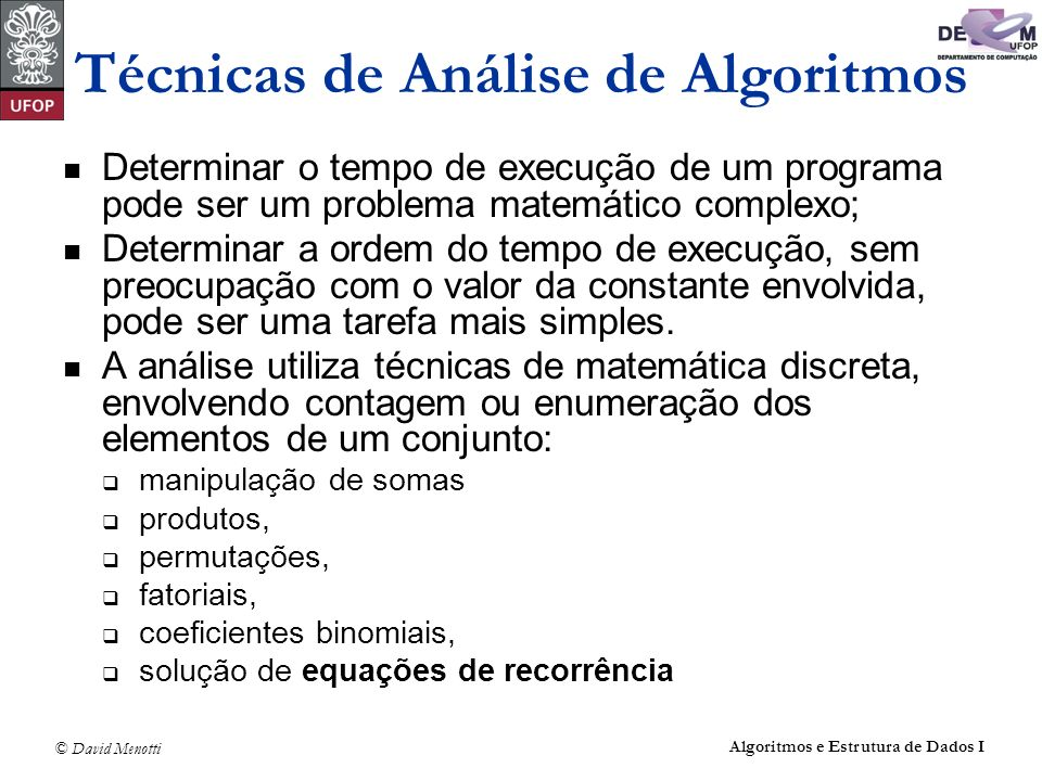 Técnicas de Análise de Algoritmos