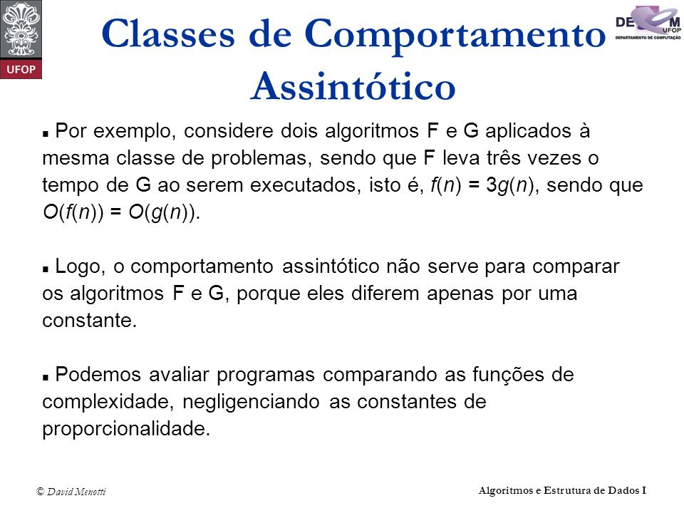 Classes de Comportamento Assintótico