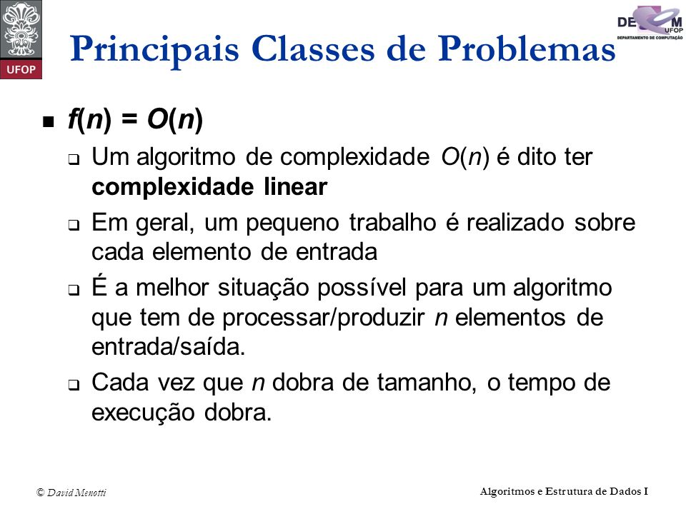 Principais Classes de Problemas