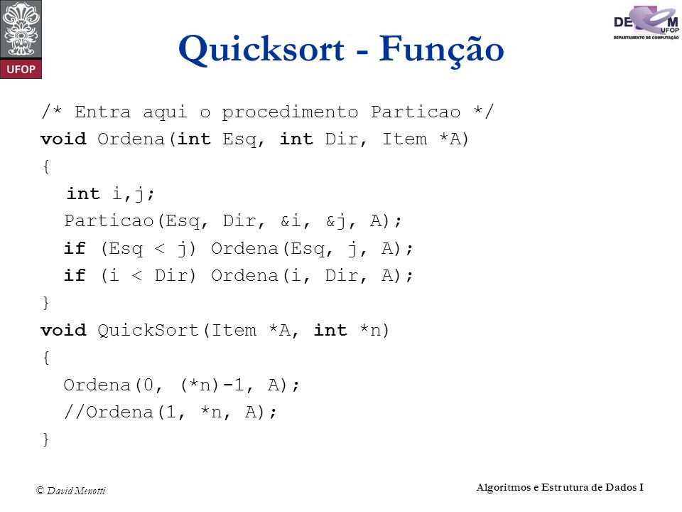 Quicksort - Função