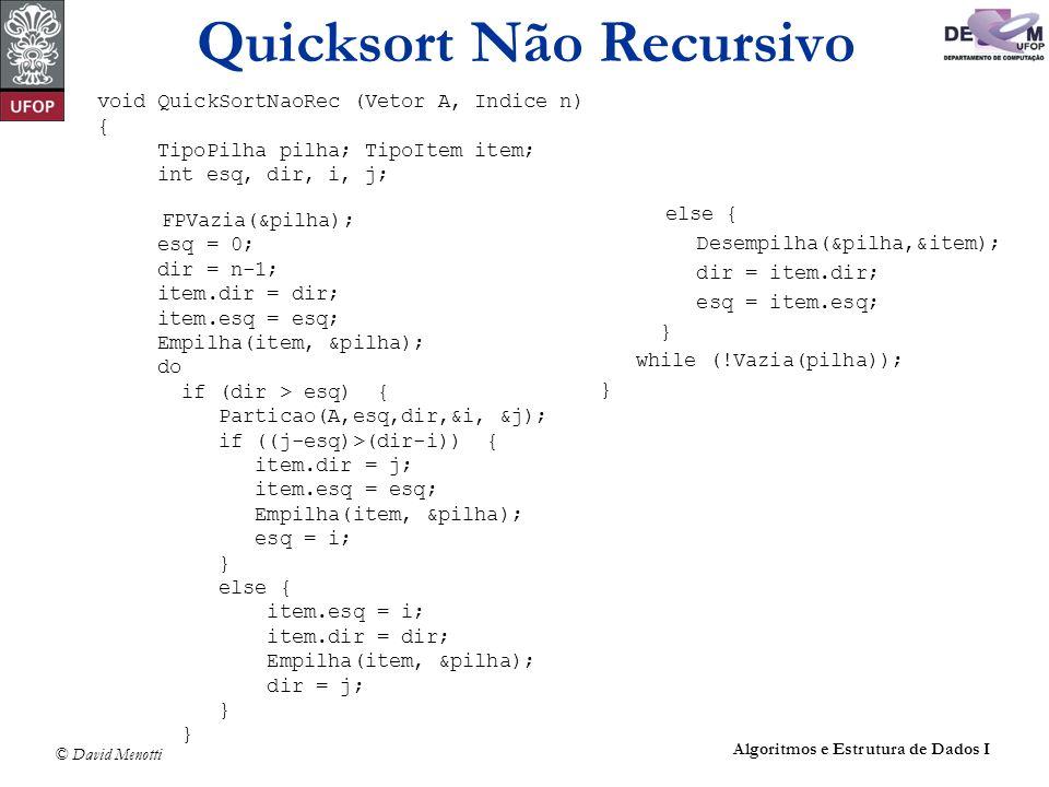 Quicksort Não Recursivo