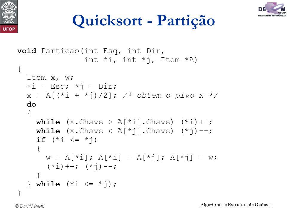 Quicksort - Partição