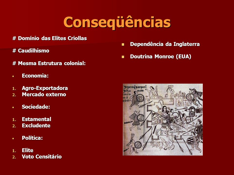 Conseqüências # Domínio das Elites Criollas # Caudilhismo