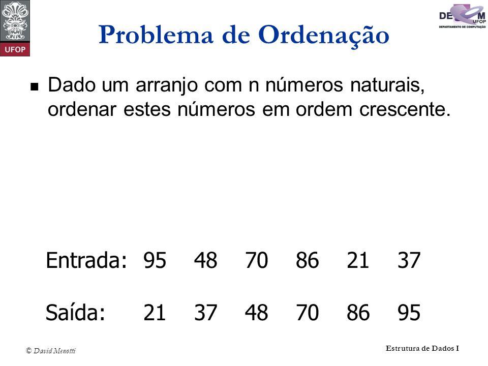 Problema de Ordenação Entrada: 95 48 70 86 21 37