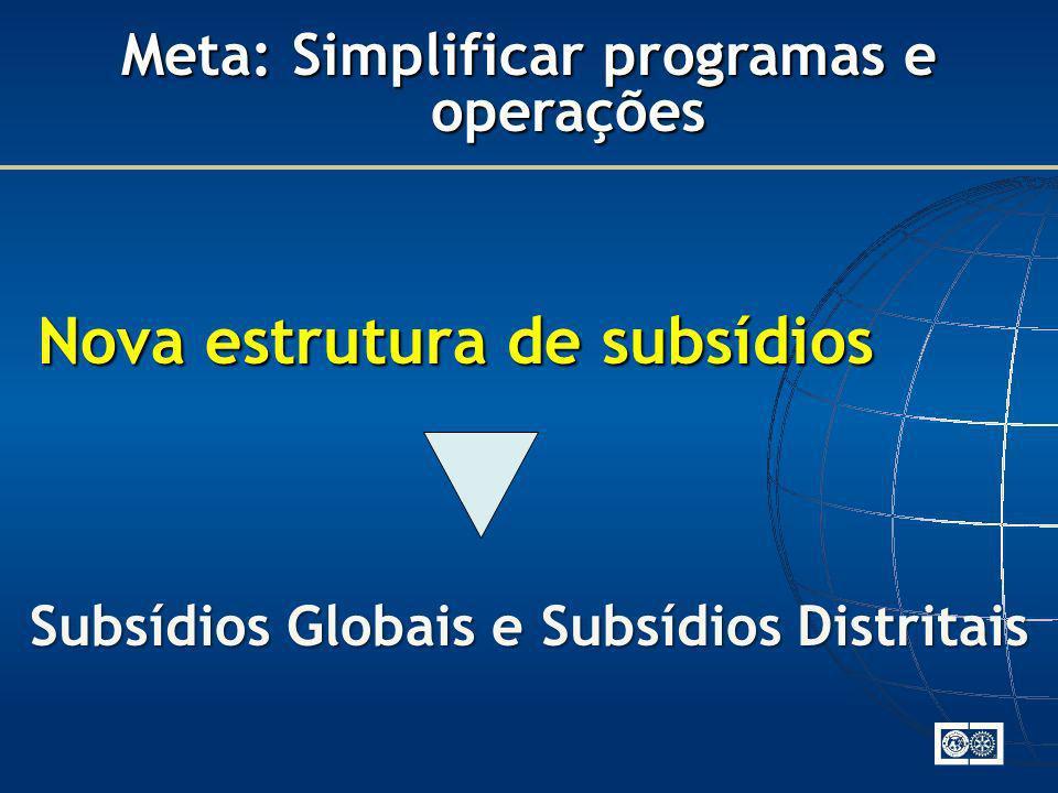 Nova estrutura de subsídios