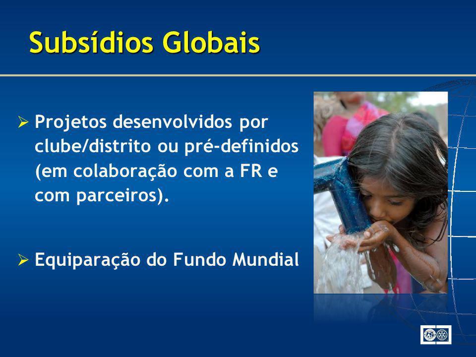 Subsídios Globais Projetos desenvolvidos por clube/distrito ou pré-definidos (em colaboração com a FR e com parceiros).