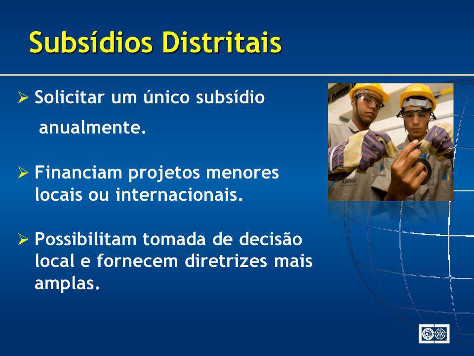 Subsídios Distritais Solicitar um único subsídio anualmente.