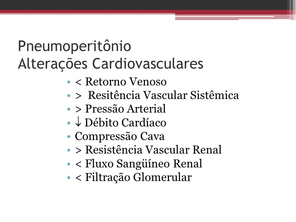 Pneumoperitônio Alterações Cardiovasculares