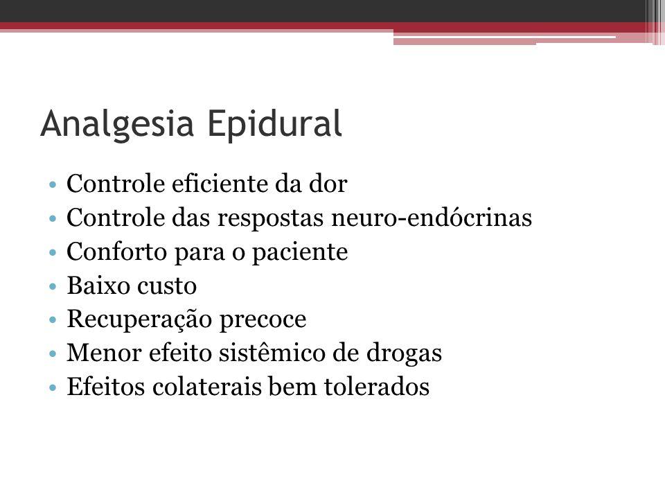 Analgesia Epidural Controle eficiente da dor