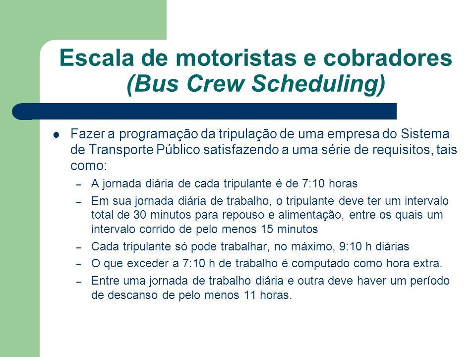 Escala de motoristas e cobradores (Bus Crew Scheduling)