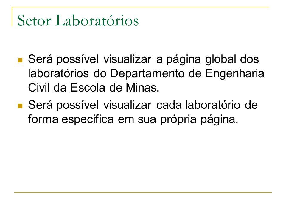 Setor Laboratórios Será possível visualizar a página global dos laboratórios do Departamento de Engenharia Civil da Escola de Minas.