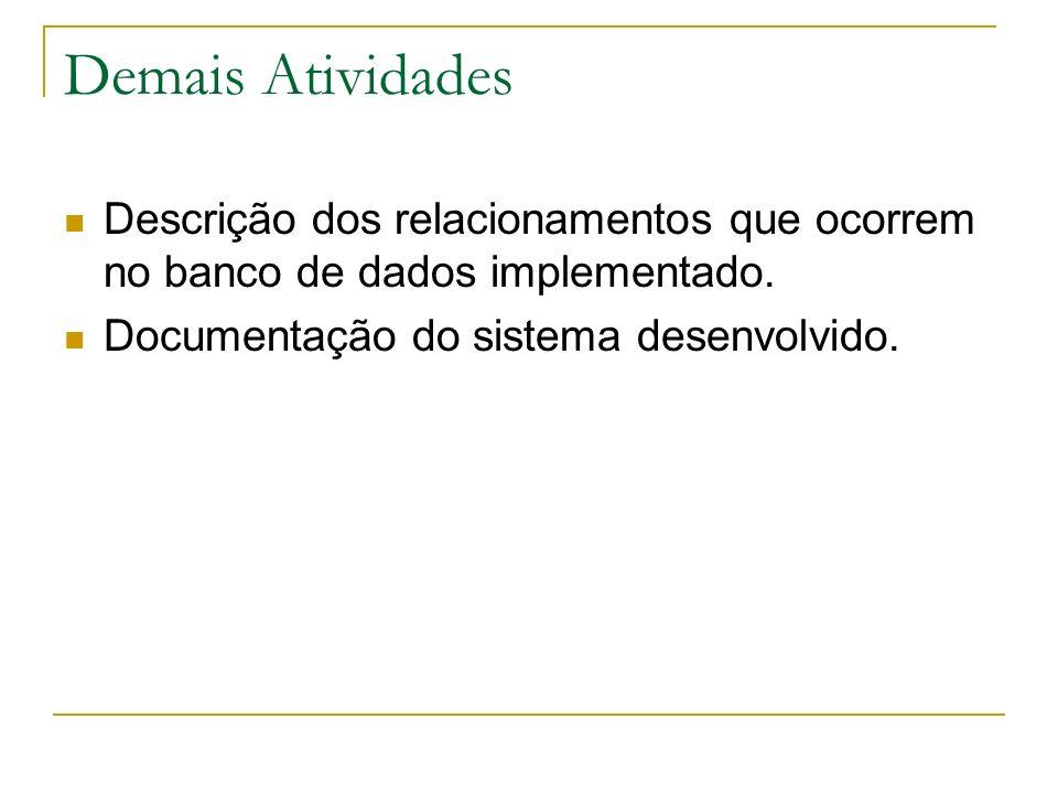 Demais AtividadesDescrição dos relacionamentos que ocorrem no banco de dados implementado.