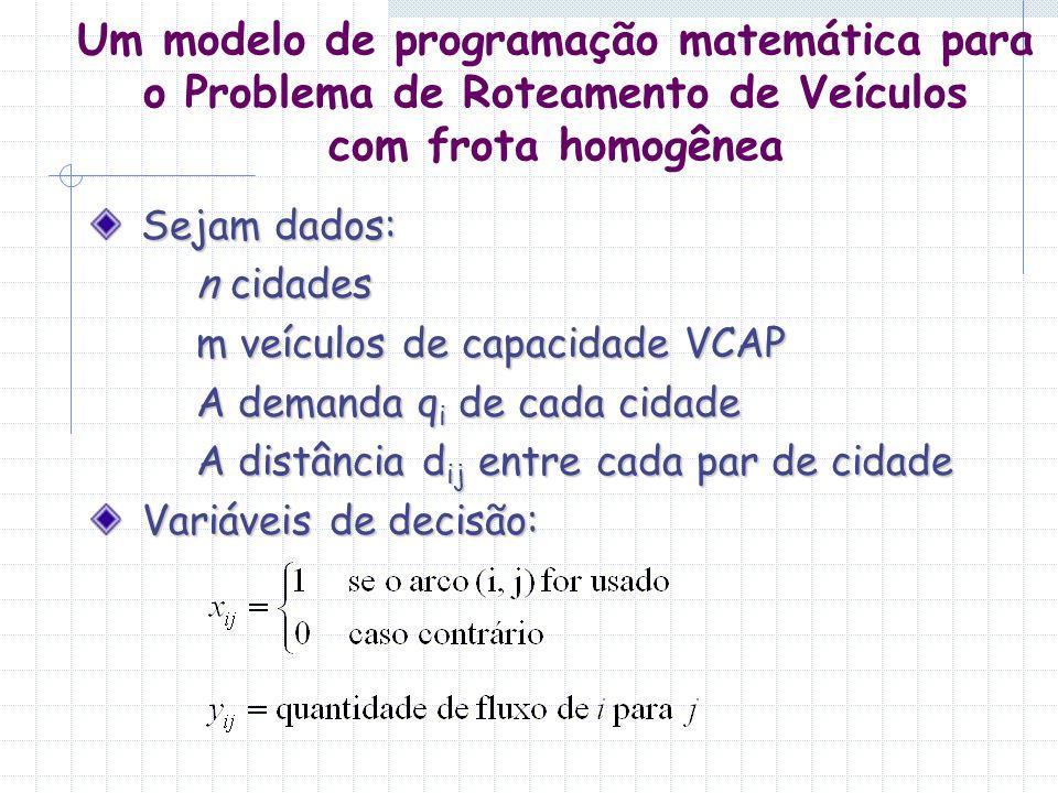 Um modelo de programação matemática para o Problema de Roteamento de Veículos com frota homogênea