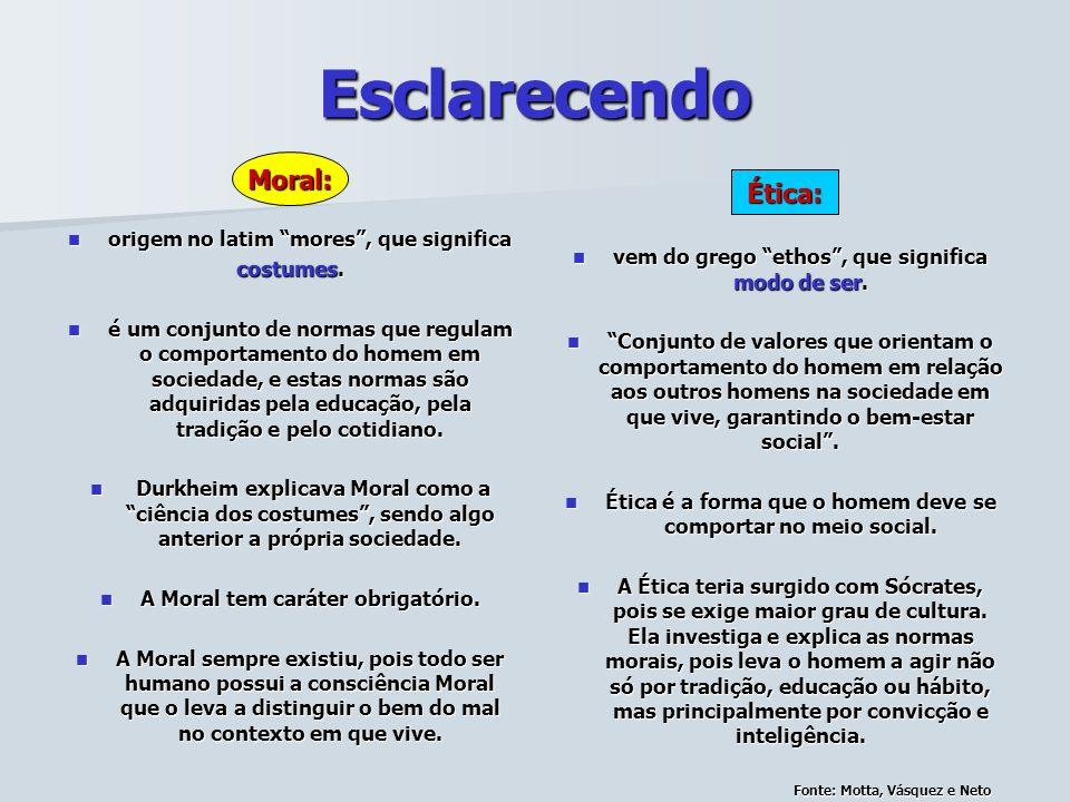 Esclarecendo Moral: Ética: origem no latim mores , que significa