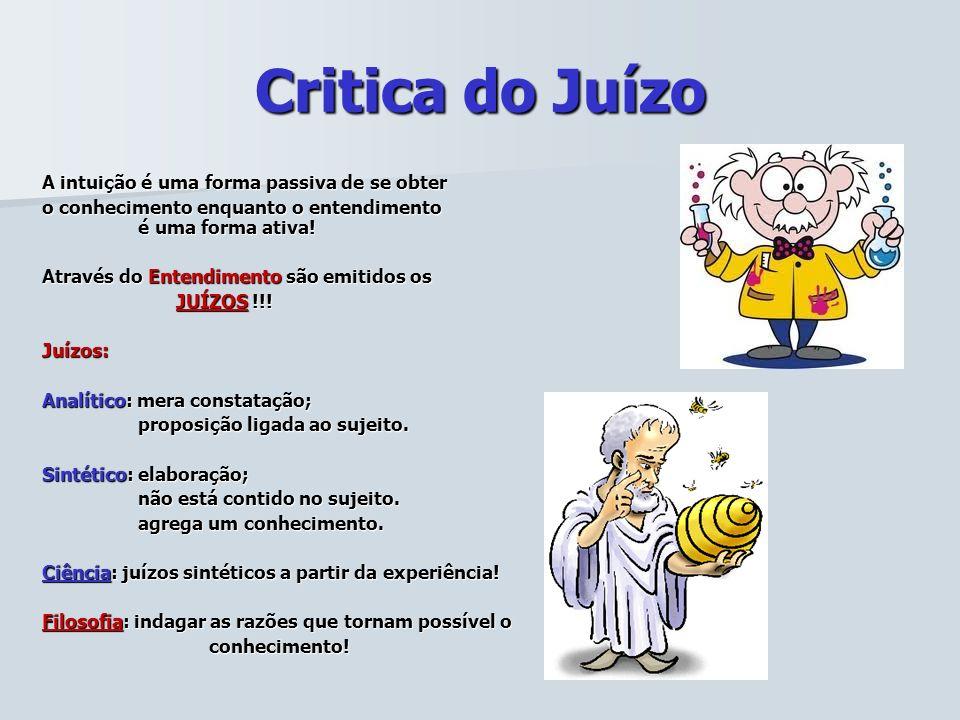Critica do Juízo A intuição é uma forma passiva de se obter