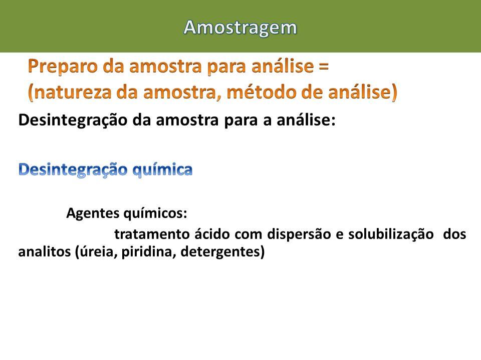 Amostragem Preparo da amostra para análise = (natureza da amostra, método de análise) Desintegração da amostra para a análise: