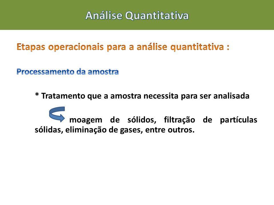 Análise Quantitativa Etapas operacionais para a análise quantitativa :