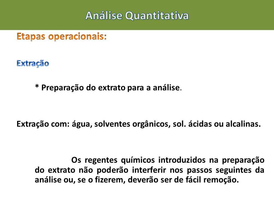 Análise Quantitativa Etapas operacionais: Extração