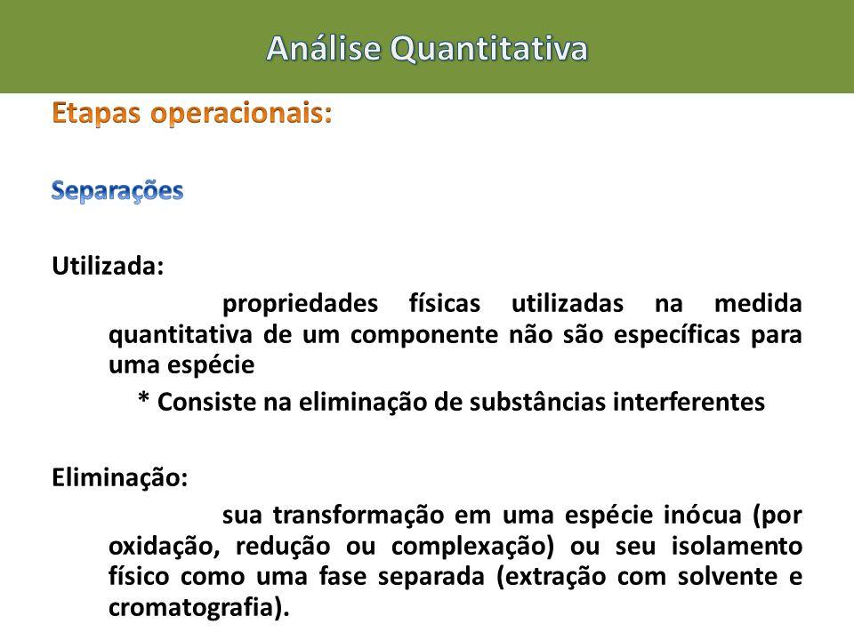 Análise Quantitativa Etapas operacionais: Separações Utilizada: